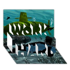 Submarine With Orca Work Hard 3d Greeting Card (7x5)