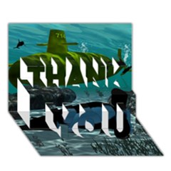 Submarine With Orca THANK YOU 3D Greeting Card (7x5)