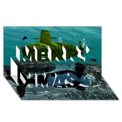 Submarine With Orca Merry Xmas 3D Greeting Card (8x4)