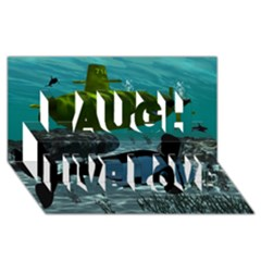 Submarine With Orca Laugh Live Love 3D Greeting Card (8x4)
