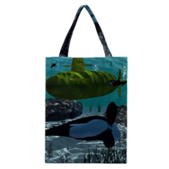 Submarine With Orca Classic Tote Bags