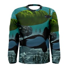 Submarine With Orca Men s Long Sleeve T Shirts