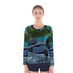 Submarine With Orca Women s Long Sleeve T-shirts