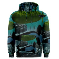 Submarine With Orca Men s Pullover Hoodies