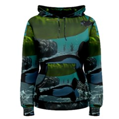 Submarine With Orca Women s Pullover Hoodies