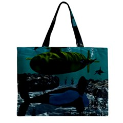 Submarine With Orca Zipper Tiny Tote Bags
