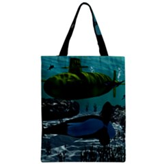 Submarine With Orca Zipper Classic Tote Bags