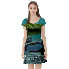 Submarine With Orca Short Sleeve Skater Dresses