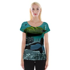 Submarine With Orca Women s Cap Sleeve Top