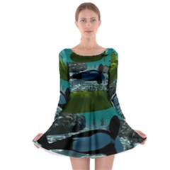 Submarine With Orca Long Sleeve Skater Dress