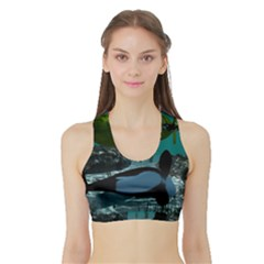 Submarine With Orca Women s Sports Bra with Border