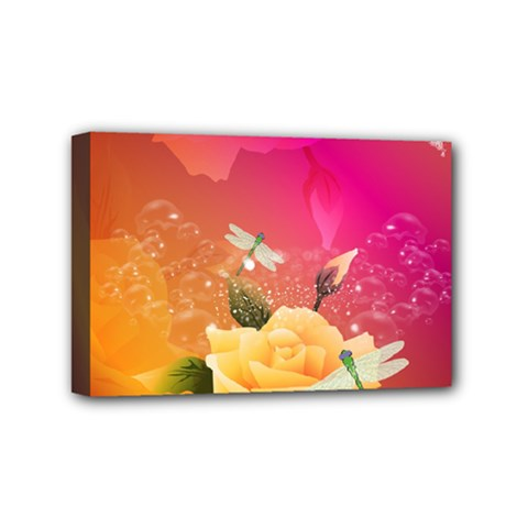Beautiful Roses With Dragonflies Mini Canvas 6  X 4
