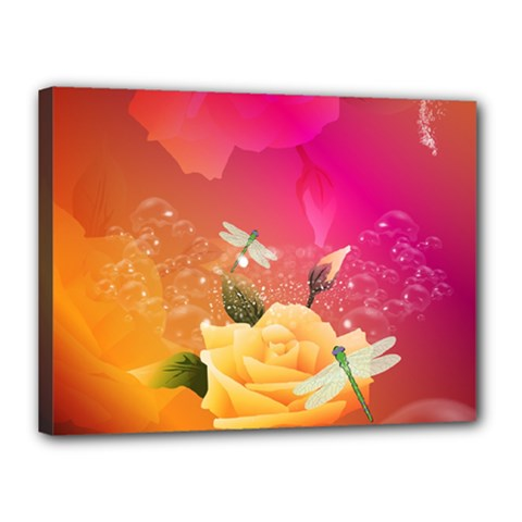 Beautiful Roses With Dragonflies Canvas 16  X 12