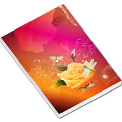 Beautiful Roses With Dragonflies Large Memo Pads