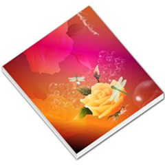 Beautiful Roses With Dragonflies Small Memo Pads
