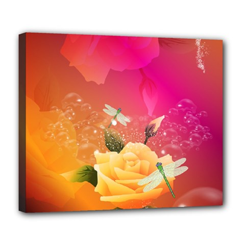 Beautiful Roses With Dragonflies Deluxe Canvas 24  X 20
