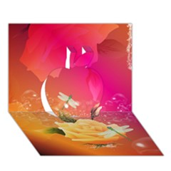 Beautiful Roses With Dragonflies Apple 3D Greeting Card (7x5)