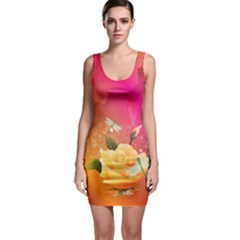 Beautiful Roses With Dragonflies Bodycon Dresses