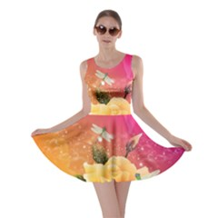 Beautiful Roses With Dragonflies Skater Dresses