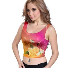 Beautiful Roses With Dragonflies Crop Top