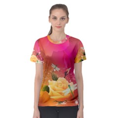 Beautiful Roses With Dragonflies Women s Sport Mesh Tees