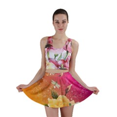 Beautiful Roses With Dragonflies Mini Skirts