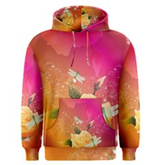 Beautiful Roses With Dragonflies Men s Pullover Hoodies