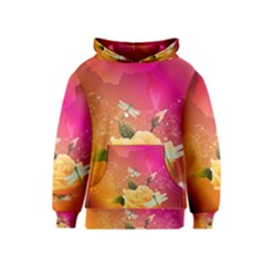 Beautiful Roses With Dragonflies Kid s Pullover Hoodies
