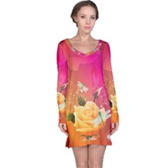 Beautiful Roses With Dragonflies Long Sleeve Nightdresses