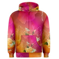 Beautiful Roses With Dragonflies Men s Zipper Hoodies