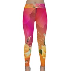Beautiful Roses With Dragonflies Yoga Leggings