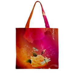 Beautiful Roses With Dragonflies Zipper Grocery Tote Bags