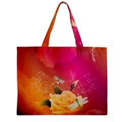 Beautiful Roses With Dragonflies Zipper Tiny Tote Bags