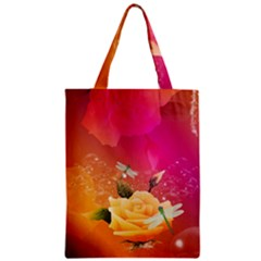 Beautiful Roses With Dragonflies Zipper Classic Tote Bags