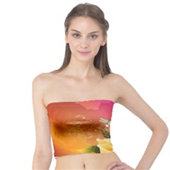 Beautiful Roses With Dragonflies Women s Tube Tops