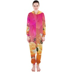 Beautiful Roses With Dragonflies Hooded Jumpsuit (ladies)