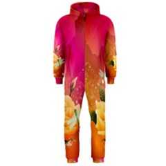 Beautiful Roses With Dragonflies Hooded Jumpsuit (Men)