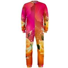 Beautiful Roses With Dragonflies Onepiece Jumpsuit (men)
