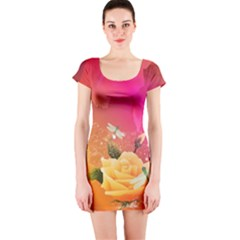 Beautiful Roses With Dragonflies Short Sleeve Bodycon Dresses