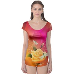 Beautiful Roses With Dragonflies Short Sleeve Leotard