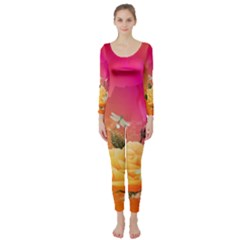 Beautiful Roses With Dragonflies Long Sleeve Catsuit