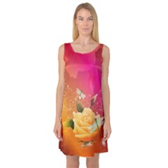Beautiful Roses With Dragonflies Sleeveless Satin Nightdresses