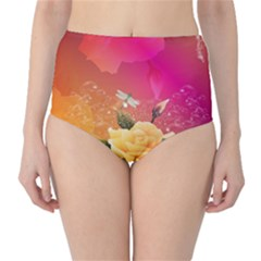 Beautiful Roses With Dragonflies High Waist Bikini Bottoms