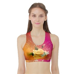 Beautiful Roses With Dragonflies Women s Sports Bra with Border