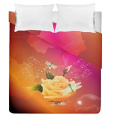 Beautiful Roses With Dragonflies Duvet Cover (full/queen Size)
