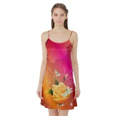 Beautiful Roses With Dragonflies Satin Night Slip