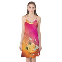 Beautiful Roses With Dragonflies Camis Nightgown