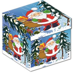Funny Santa Claus In The Forrest Storage Stool 12