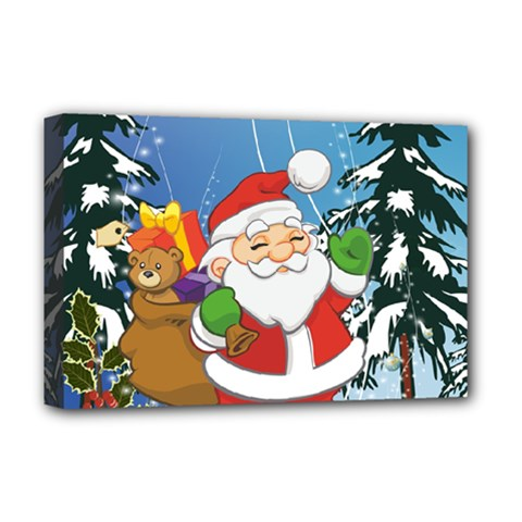 Funny Santa Claus In The Forrest Deluxe Canvas 18  x 12