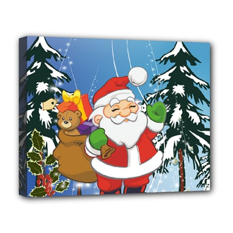 Funny Santa Claus In The Forrest Deluxe Canvas 20  x 16
